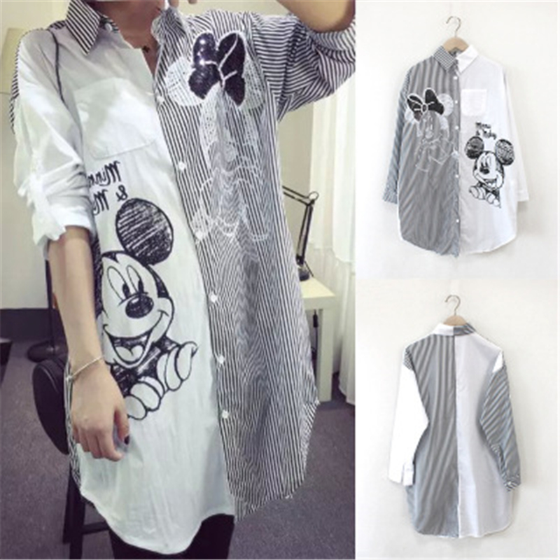 Women Shirt Fashion Striped Stirching Shirts Sequin Cartoon Casual Loose Street Female Plus Size Midi Shirt Rollable Sleeves