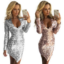 Popular European and American Nightclub Sexy Women's Long Sleeve Irregular Sequin Positioning Embroidered Dress