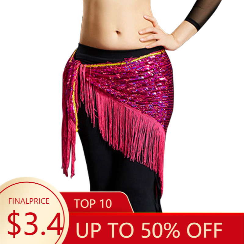 Hip-Scarf Dancing-Belts Belly-Dance-Costumes Sequins New-Style Women Tassel Mesh