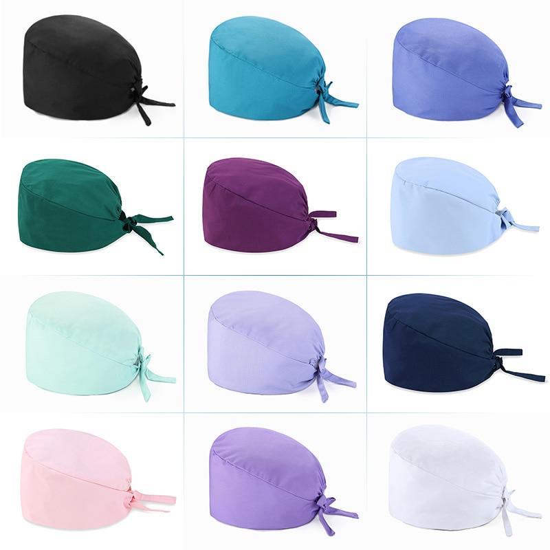 New Unisex Solide Color Scrub Nurse Hat Adjustable Beauty Salon Care Cap Laboratory Pet Shop Nurse Doctor Working Caps