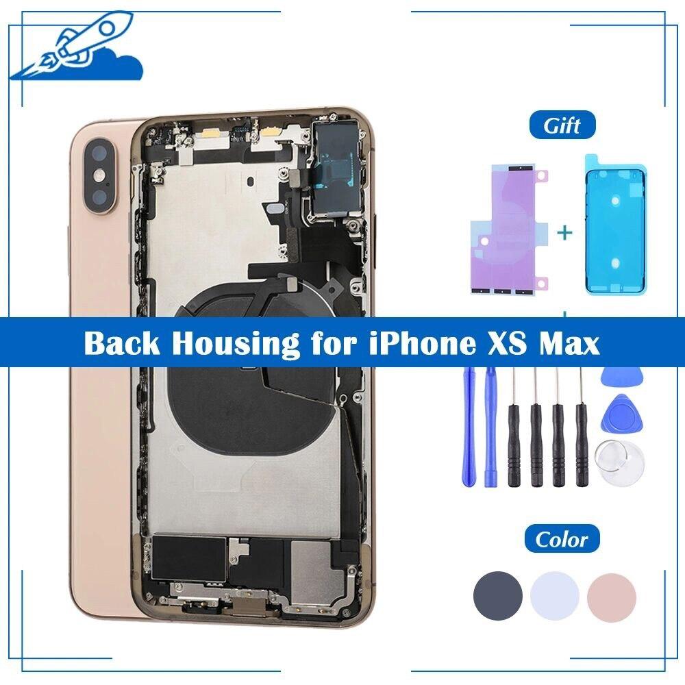 OEM задняя крышка корпуса для iPhone XS Max, крышка аккумулятора, средняя рамка корпуса с SIM-картой, боковая часть ключа, гибкий кабель, полная сборк...