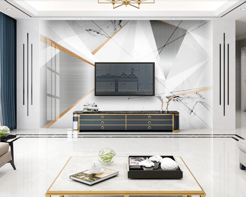 Custom Abstract Metal Jazz White Marble Living Room Bedroom Background Wallpaper Mural