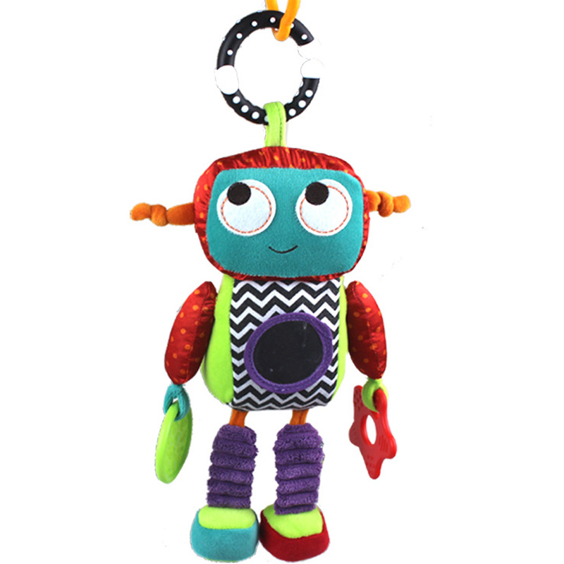 Baby Plush Mobile Musical Rattle Toys Android Robot Baby Hanging Toys For Newborn 0-12 Month Early Educational Toys Doll