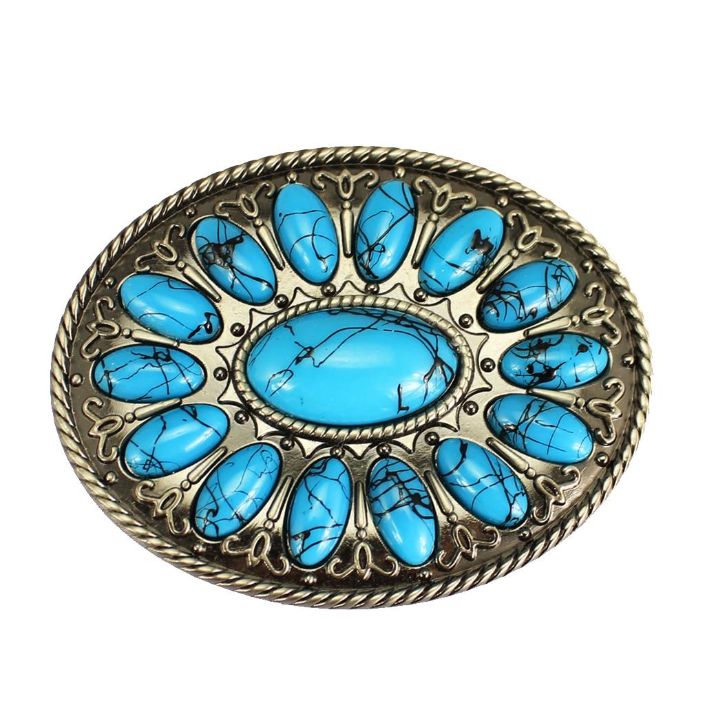 Western Belt Buckles Retro Cowboy Blue Turquoise Stone Belts Buckle For Men Women