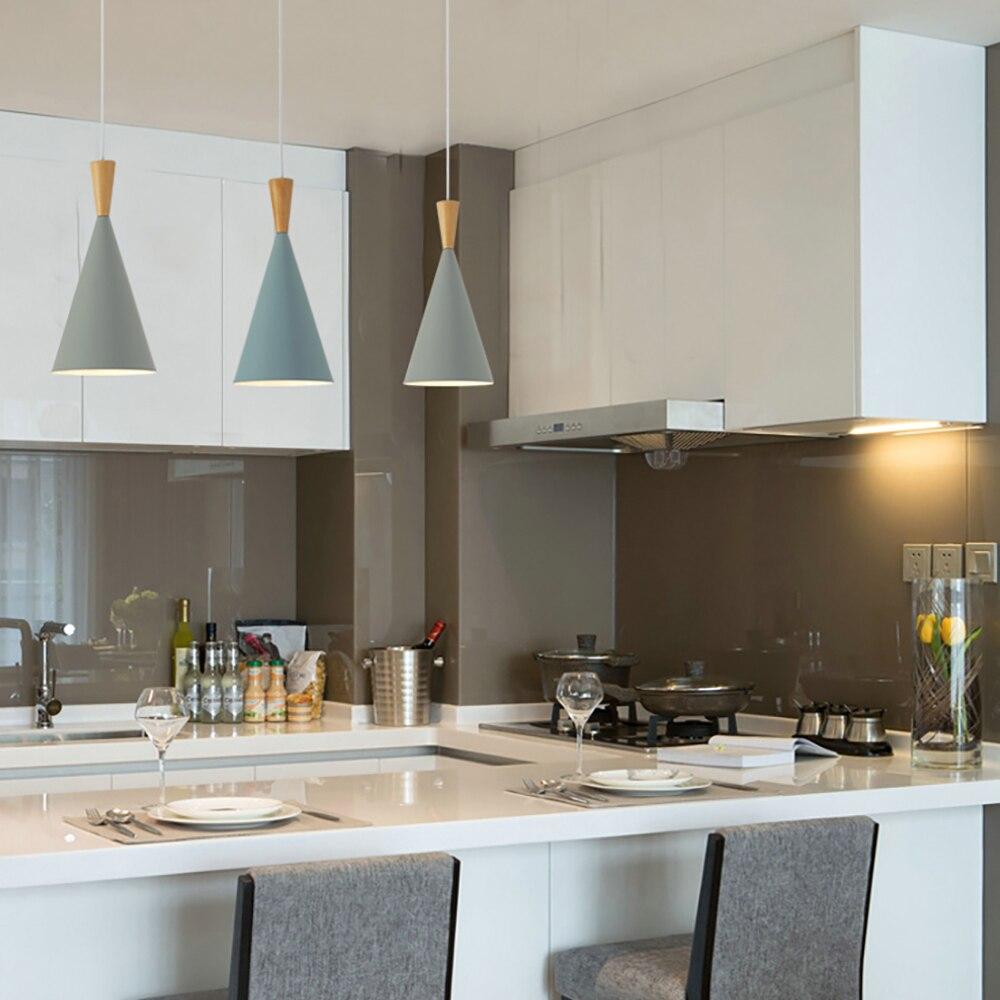 Modern Minimalist E27 Pendant Lights Bar Cafe Restaurant Decor Wood Aluminum Hanging Lamp Lighting Luminaire