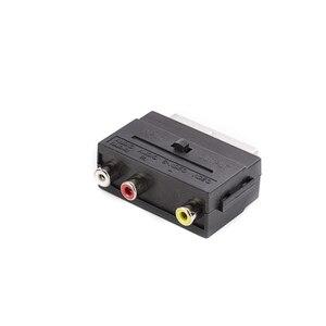 Image 2 - SCART כדי 3 RCA Composite Phono מתאם ממיר עם ב/החוצה מתג, 100 יח\חבילה