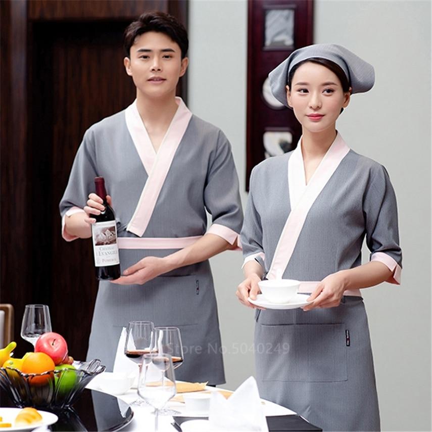 Men's Japanese Cooking Unfiorms Slim V-neck Chef-Coat Half Sleeve Kimono Restaurant Chef Jacket With Apron Women Sushi Unfiorm
