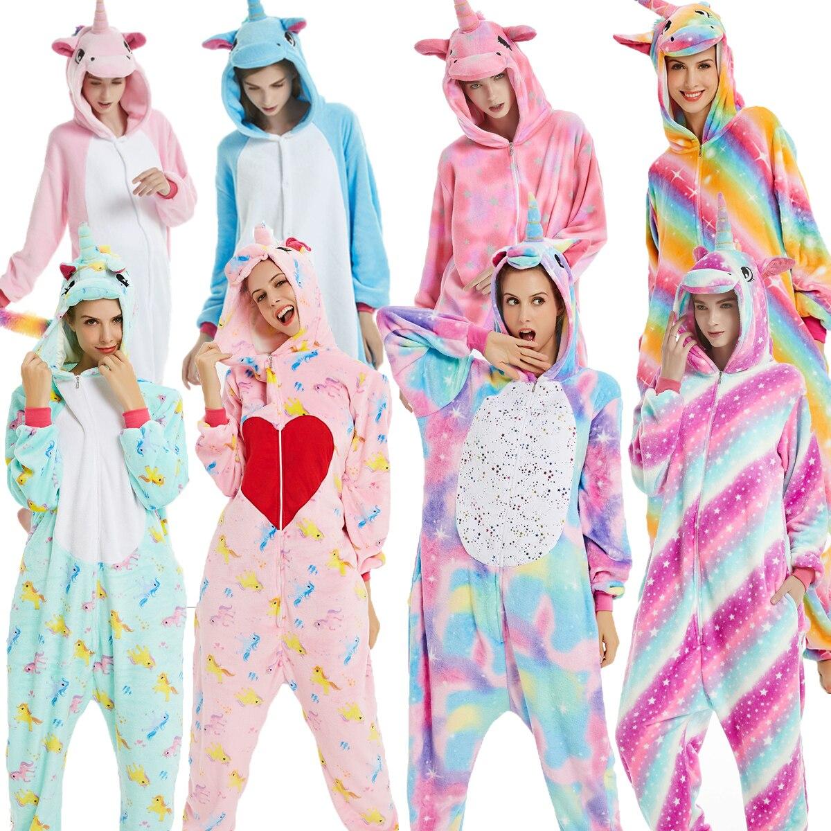 BIKIRUB взрослая Пижама для женщин Фланелевая Пижама унисекс кигуруми милый Единорог стежка мультфильм пижама для животных набор Дети с капюшоном пижамы