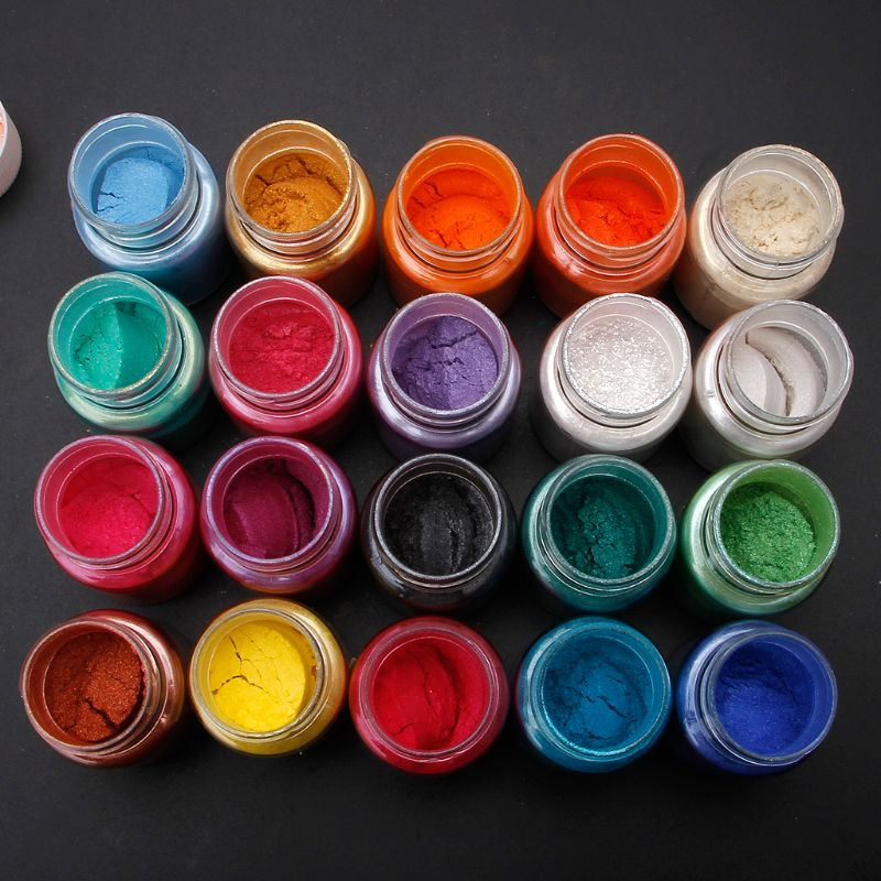 20 Colors/set Mica Powder Epoxy Resin Dye Pearl Pigment Natural Mica Mineral Powder  For DIY Making Finding Accessories