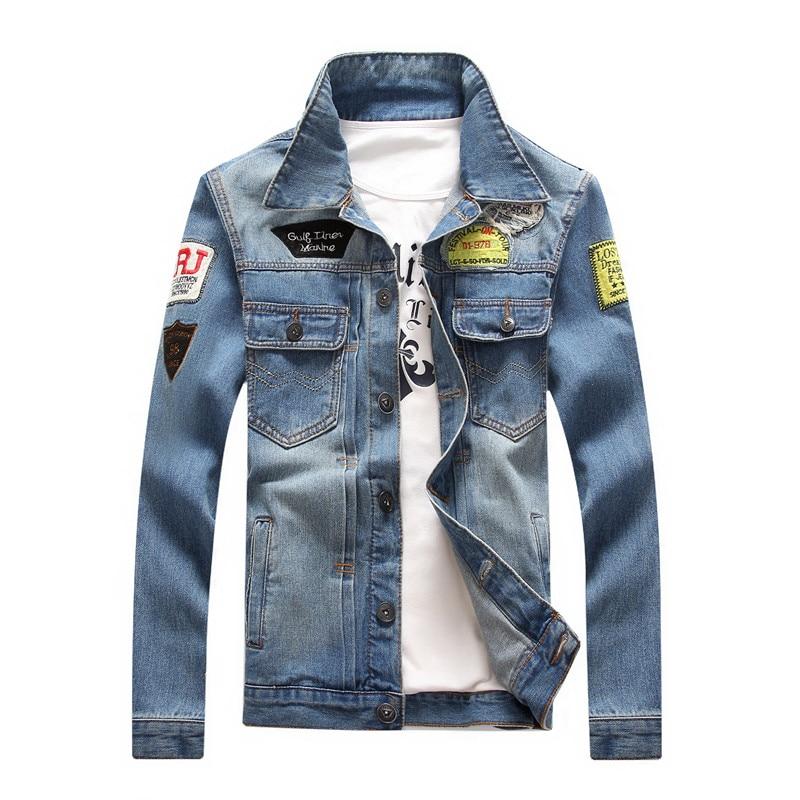 2020 Men Denim Jacket Casual Slim Jean Jacket Coat Outdoors Fashion Autumn Long Sleeve Jacket Masculino Outwear Patchwork M-4XL