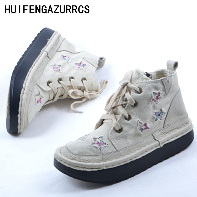 HUIFENGAZURRCS 2019 spring new retro genuine leather casual martin boots women s handmade thick bottomed muffin