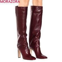 MORAZORA 2020, gran oferta, botas sobre la rodilla para mujer, zapatos de tacón alto con punta cuadrada, zapatos de fiesta, botas altas hasta el muslo de moda de otoño para mujer