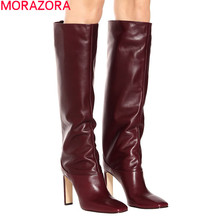 MORAZORA 2020 hot sale over the knee boots women square toe high heels dress party shoes autumn fashion thigh high boots woman