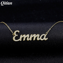 Collier personnalisé avec nom en zircone glacé pour femmes, chaîne en pierre, collier avec nom personnalisé, cadeau