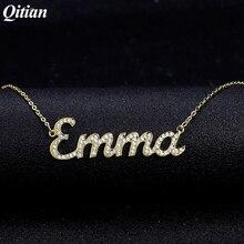 Customชื่อสร้อยคอIced Out Zirconiaสร้อยคอหินสร้อยคอผู้หญิงส่วนบุคคลชื่อสร้อยคอสำหรับของขวัญสตรี