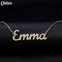 Custom Name Halskette Iced Out Zirkonia Halskette für Frauen Stein Kette Halsketten Frauen Personalisierte Name Halskette Für Frauen Geschenke