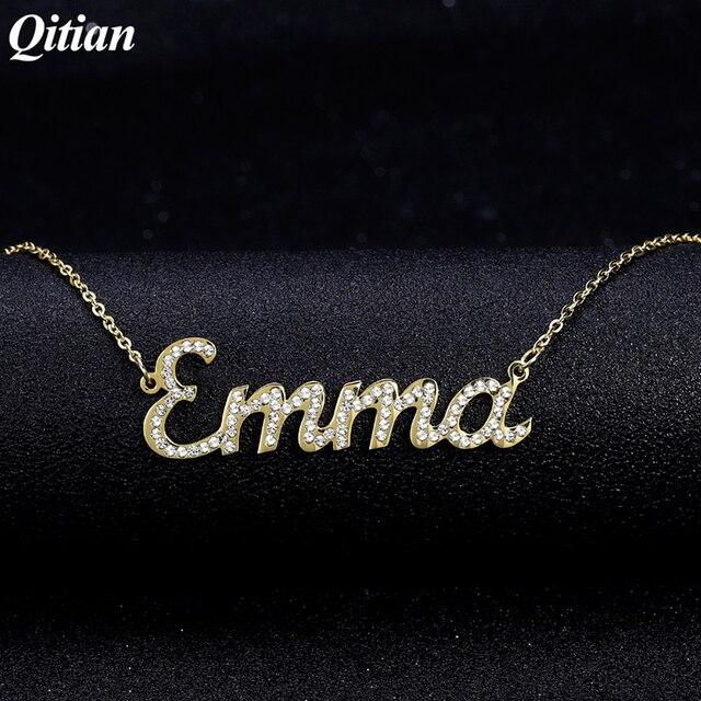 Nome personalizzato Collana Iced Out Zirconia Collana per le Donne di Pietra Collane A Catena Donne Collana con Nome Personalizzato Per I Regali di Donne