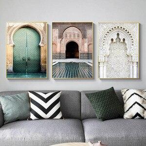 Image 3 - Fas kemer eski kapı tuval boyama İslam bina duvar sanat posterleri Hassan II cami baskı müslüman Modern dekorasyon resim
