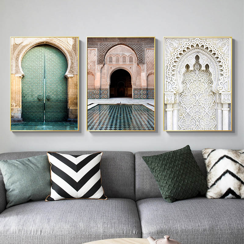 Image 3 - Moroccan Arch Old Door Canvas Painting Islamic Building Wall Art 