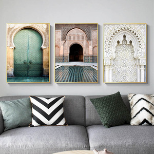 Image 3 - Moroccan Arch Old Door Canvas Painting Islamic Building Wall Art Poster Hassan II Mosque Print Muslim Modern Decoration Picture