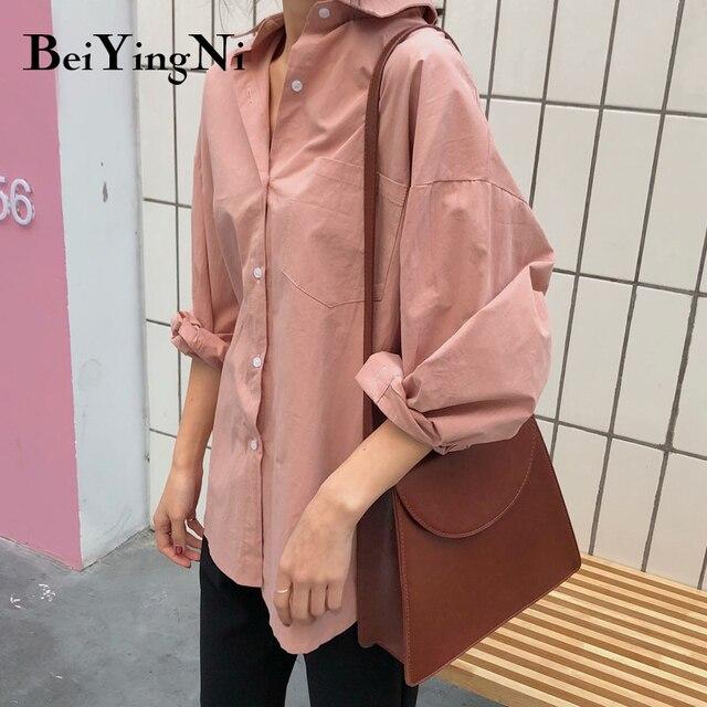 Beiyingni 2020 Spring Autumn Women Shirts White Plain Loose Oversized Blouses Female Tops Loose BF Korean Style Blusas Pockets 2