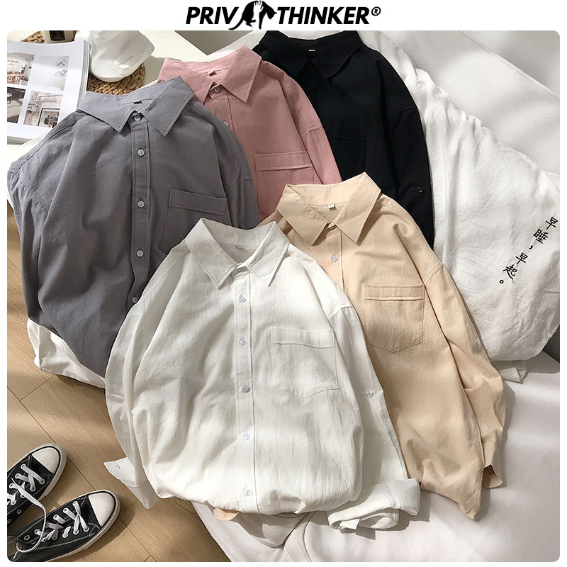 Privathinker Men Summer Solid Shirts 2020 Men 100% Cotton Blouse Streetwear Couple Loose Clothes Male Casual Colorful Shirts New