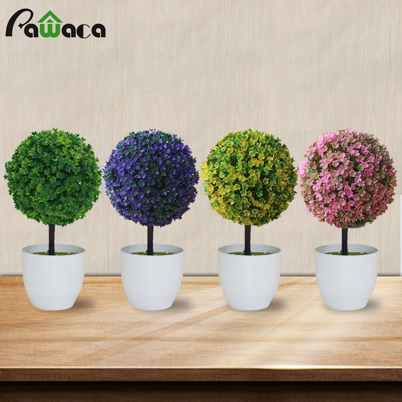 Greens Charm Artificial Bonsai Tree Faux Potted Plant With Sakura Snowball Simulation Potted Grass Ball Home Decoration Flower
