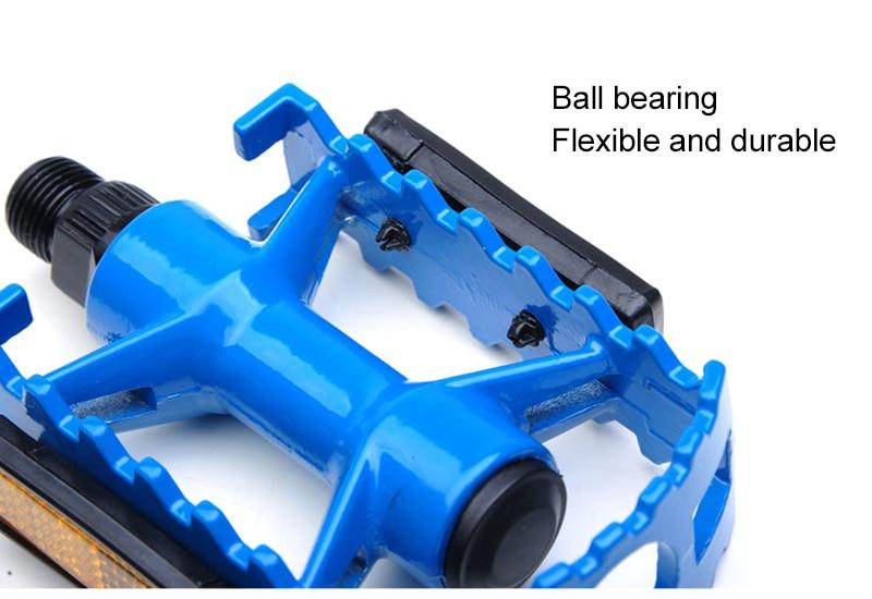 "Bicycle Pedals Metal Alloy Black Blue 9//16/"" Tough Pedal Reflective Reflectors"