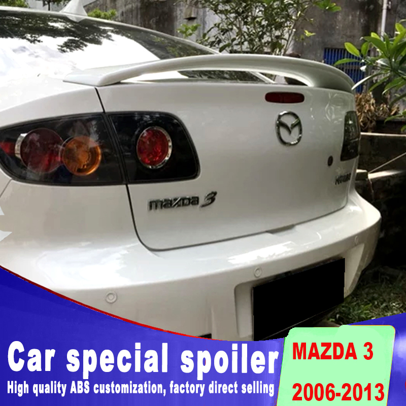 New design Dual airflow isolation rear trunk spoiler 2006 to 2013 for mazda 3 ABS material high quality spoiler by primer paint