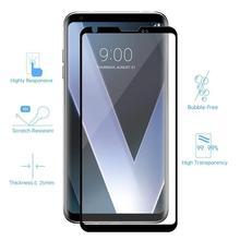 Protector de pantalla completa 3D 9H para LG V30 V40 Plus V50, Protector de vidrio templado de borde a borde, cobertura completa