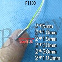 Ultra küçük Pt100 sıcaklık sensörü platin direnç PT1000 sıcaklık probu 2mm çap 234 hatları
