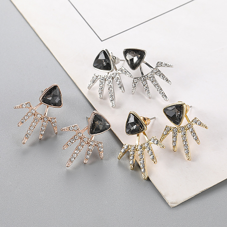 Glamour Earrings Sale Triangle Crystal Multi angle Earrings Fashion Women