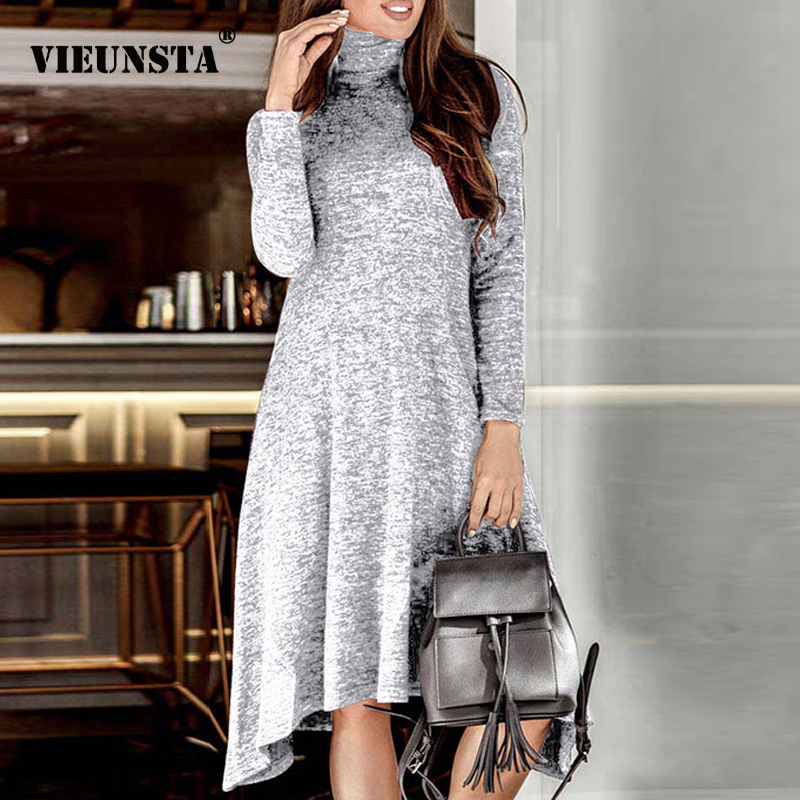VIEUNSTA Women Turtleneck Warm Knitted Sweater Dress Autumn Winter Long Sleeve Irregular Dress Elegant Solid Ladies Party Dress