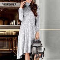 VIEUNSTA Women Turtleneck Warm Knitted Sweater Dress Autumn Winter Long Sleeve Irregular Dress Elegant Solid Ladies Party Dress