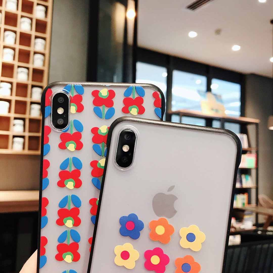 超薄型センチメートルボーダレスアクリル電話ケース iphone X XS XS 最大 7 8 プラスケースカラフルな花柄クリアケース iphone 7 6s
