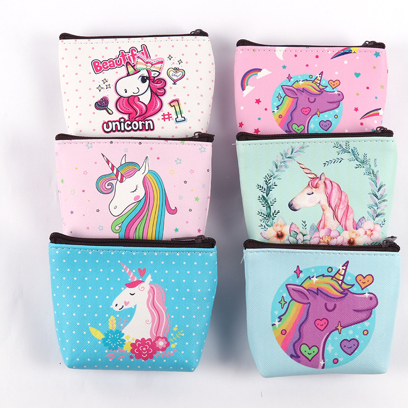 Creative Kids Coin Purses Holder Kawaii Animal Unicorn Flamingo Women Mini Change Wallets Money Bag Children Zipper Pouch Gift