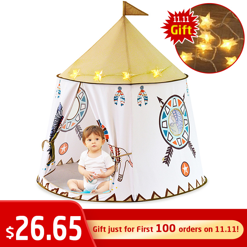 YARD Kid Teepee Tent House 123*116cm Portable Princess Castle Present For Kids Children Play Toy Tent Birthday Christmas Gift
