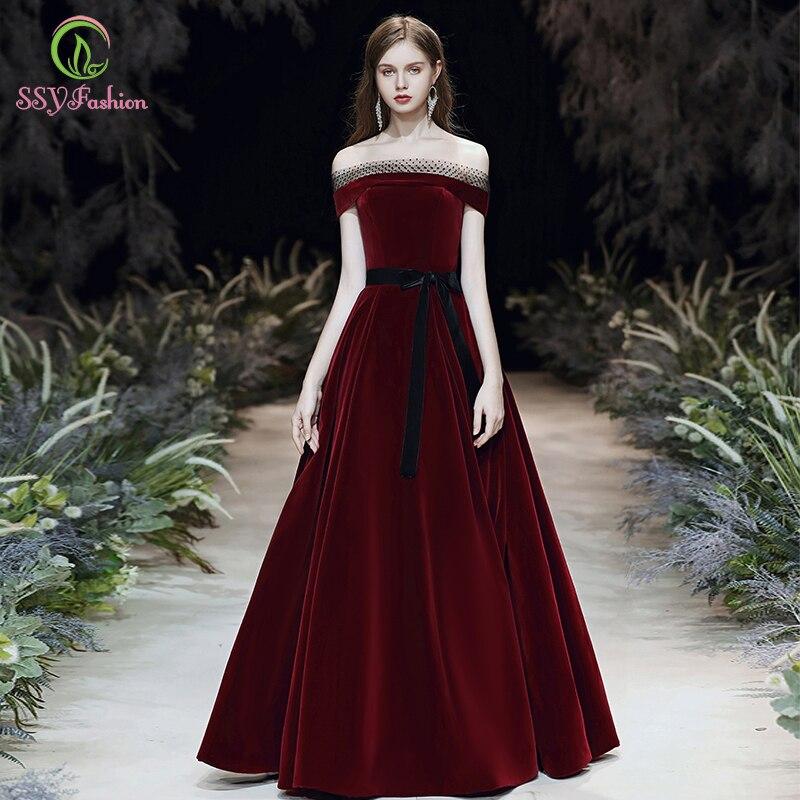 SSYFashion New Simple Vintage Burgundy Evening Dress Boat Neck Flooe-length Velour Long Prom Formal Gown Vestido De Noche