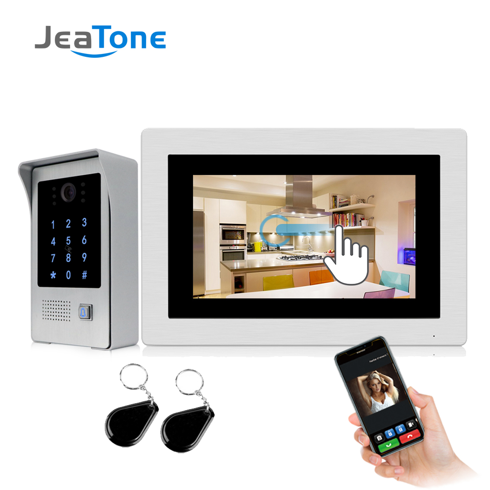 720P WiFi IP Video Door Phone Video Intercom 7'' Touch Screen Free App Remote Unlock Code Keypad RFIC Card Access Control System