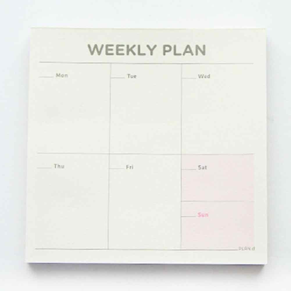 Semanal planificador mensual portátil lista Plan de trabajo de papel cuadrado cuaderno Agenda, agenda ежедневник Agenda 2020 español