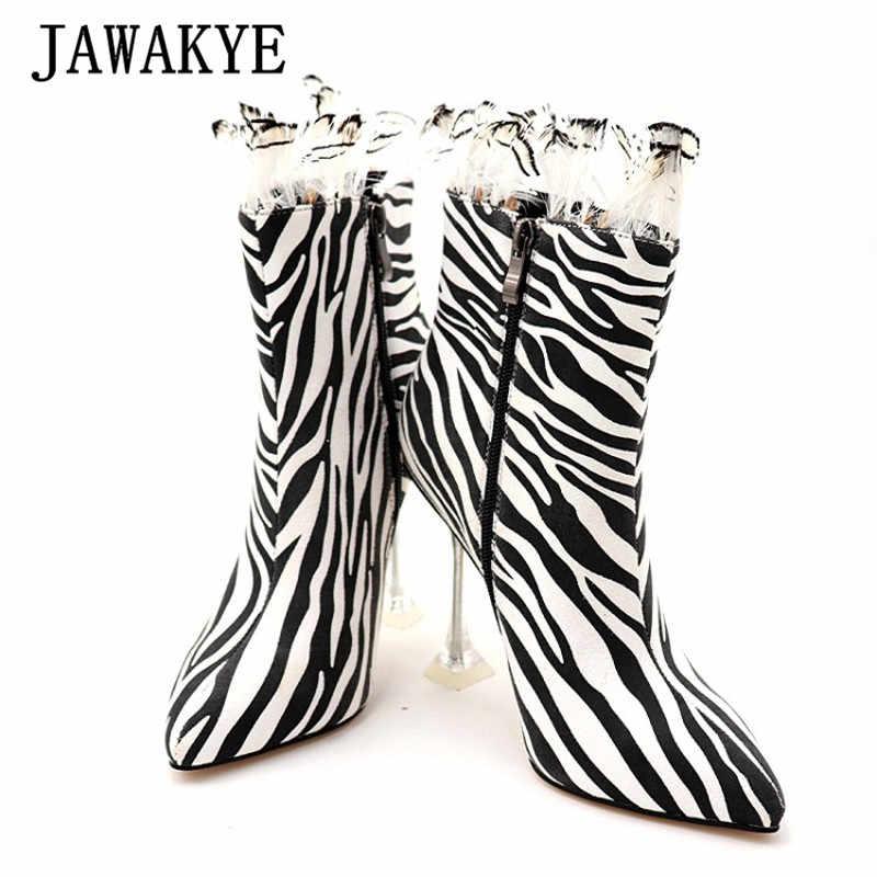 Sıcak zebra kumaş Yüksek Topuk yarım çizmeler Kadın Nokta Ayak Açık Topuklu kısa çizmeler Kadın Petal Lotus Seksi parti ayakkabıları botas feminina