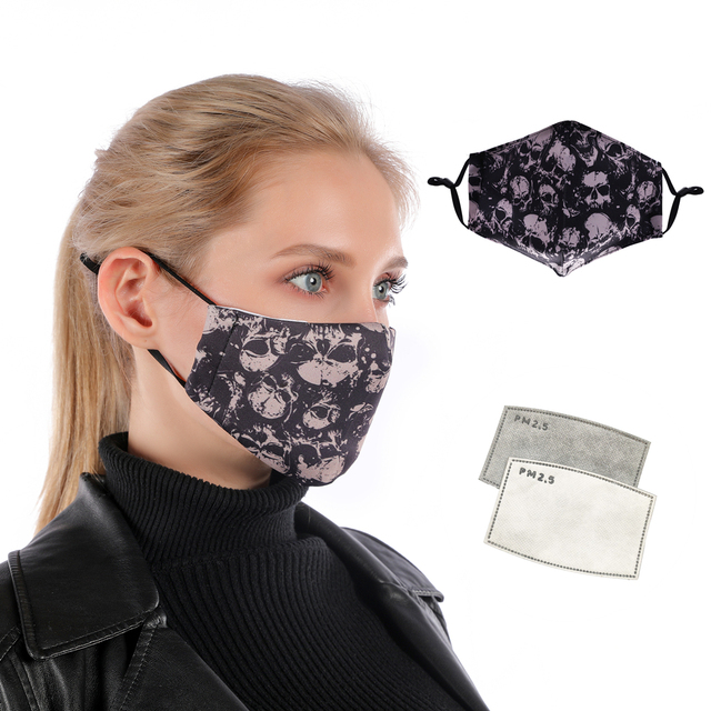 Zohra Printing Reusable Protective PM2.5 Filter mouth Mask anti dust Face mask Windproof Mouth-muffle bacteria proof Flu Mask