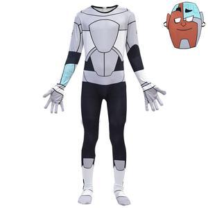Image 4 - Anime Teen Titans Go Cyborg Cosplay Costume Bodysuit 3D Child Jumpsuit Halloween Party Costumefor Boys Girls