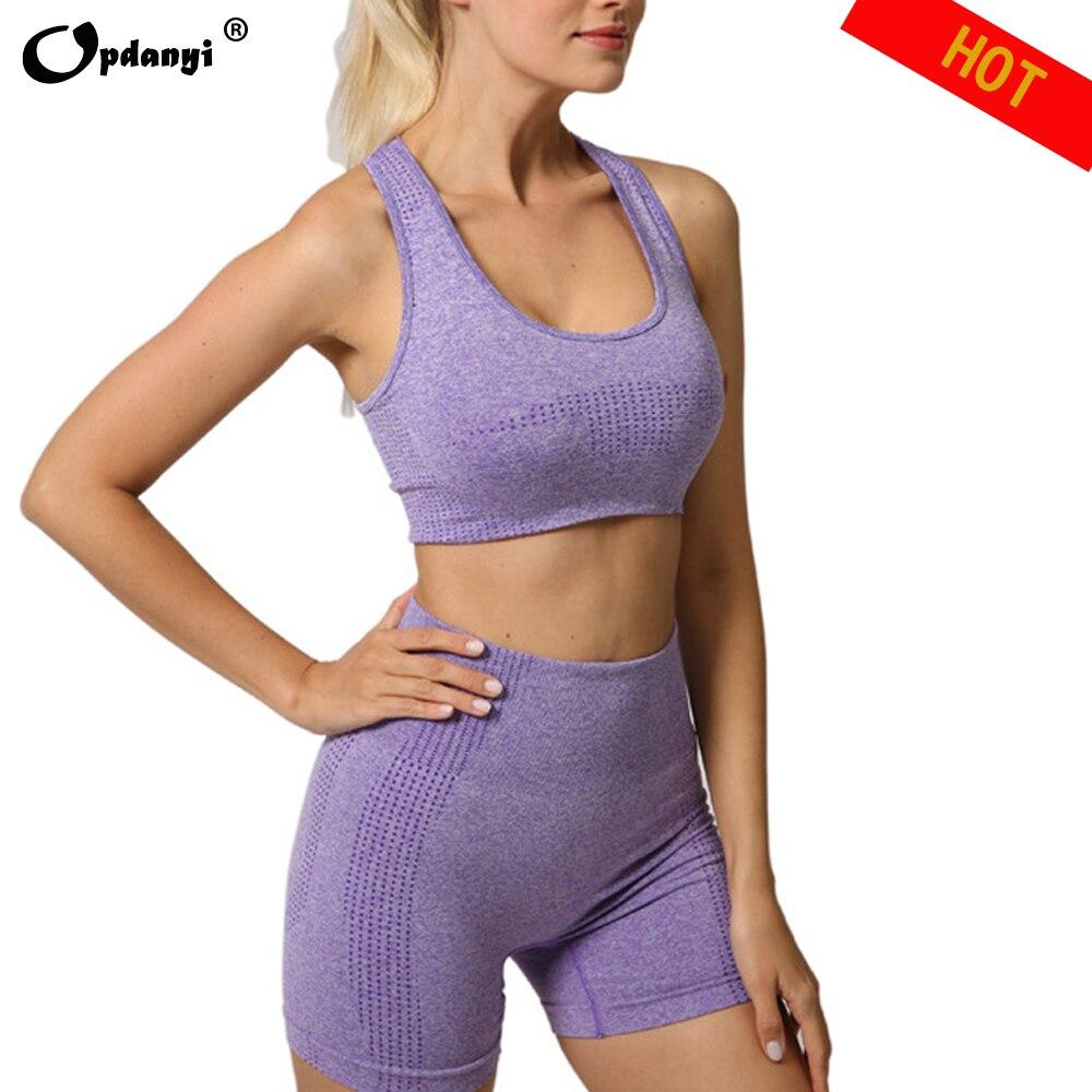 Женский бесшовный комплект из 2 предметов для йоги, летние блузки с коротким рукавом, топ, шорты, спортивный бюстгальтер, высокая талия, обтя...