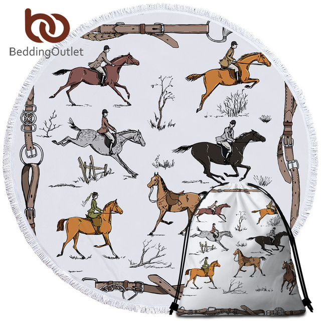 BeddingOutlet Animals Round Beach Towel Equestrian Microfiber Towel England Tradition Horse Riding Picnic Mat Sports Tapestry 1