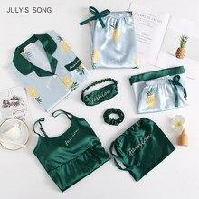 JULY'S SONG-Conjuntos de pijamas de satén para mujer, ropa de dormir de seda de imitación con estampado, camisas de manga larga y pantalones, para primavera y verano, por 7 Uds.