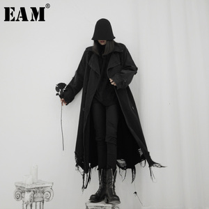 Image 1 - EAM Trench en Denim pour femmes, grande taille, coupe vent en Denim, nouveau col, manches longues, coupe vent, mode printemps automne 2020 19A a545