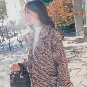 2021 New Autumn Winter Women Korean Double-Breasted Thicken Long Coats Female Tassels Overcoats Retro Houndstooth Woolen Coat