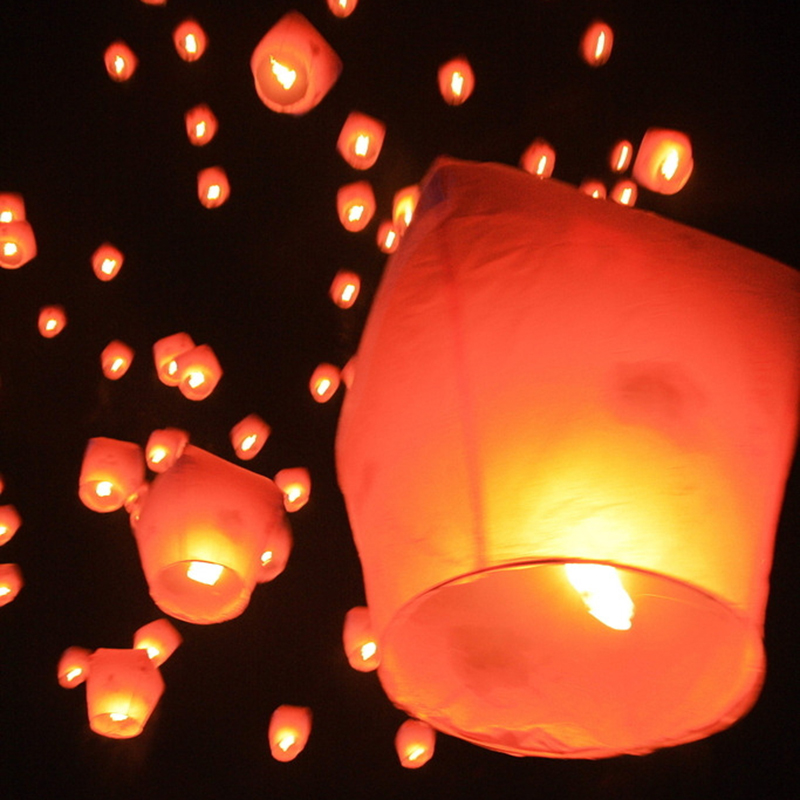 6pc Night Party Candles Flying Lights Wishing Valentine's Day Holiday Hot Air Balloons DIY Fire Lights Friends Family Christmas