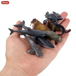 Oenux небольшой Sealife Животные рыбы Ray Акула КИТ МОДЕЛЬ черепахи фигурки мини морской миниатюрный ПВХ милые Развивающие игрушки для детей